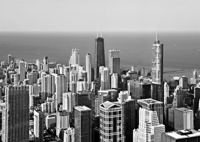 Aerial Greeting Card featuring the photograph Chicago - That Famous Skyline by Christine Till