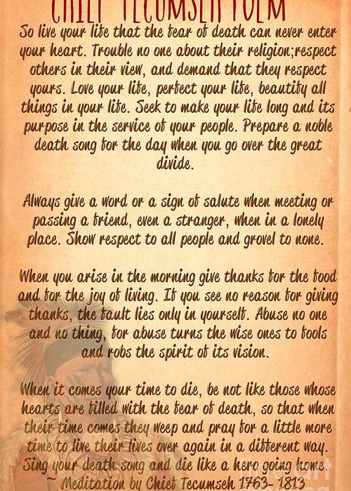 Tecumseh Greeting Card featuring the digital art Chief Tecumseh Poem - Live Your Life by Celestial Images
