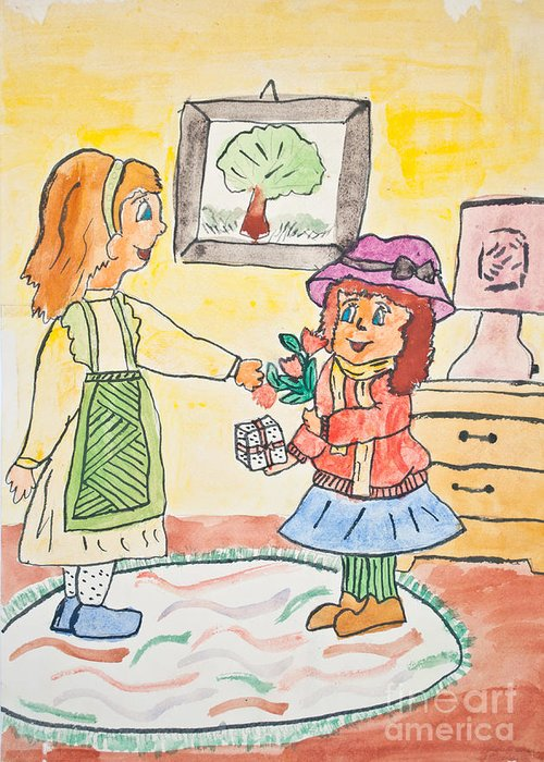 Art Greeting Card featuring the photograph Child Drawing Of Mother Giving Gift To Daughter by Aleksandar Mijatovic