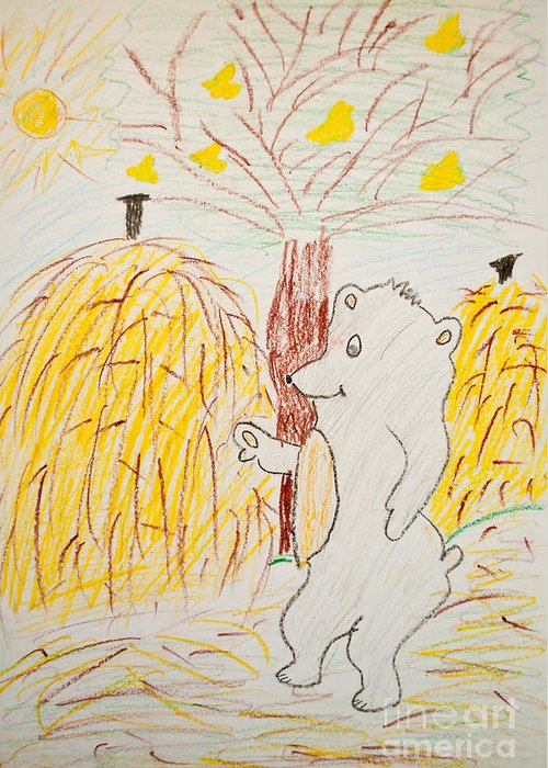 Art Greeting Card featuring the photograph Child Painting Of Bear In Forest by Aleksandar Mijatovic