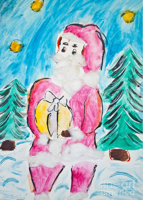 Art Greeting Card featuring the photograph Child's Drawing Of Santa Claus With Watercolors by Aleksandar Mijatovic