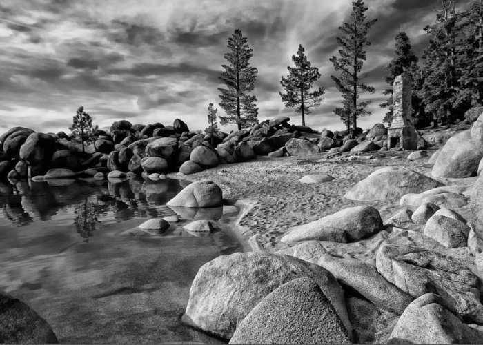 Black And White Greeting Card featuring the photograph Chimney Beach Lake Tahoe by Scott McGuire