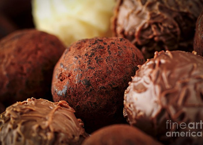 Chocolate Greeting Card featuring the photograph Chocolate Truffles by Elena Elisseeva