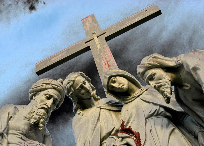 St Joseph Cemetery Greeting Card featuring the photograph Christ On The Cross With Mourners St. Joseph Cemetery Evansville Indiana 2006 by John Hanou