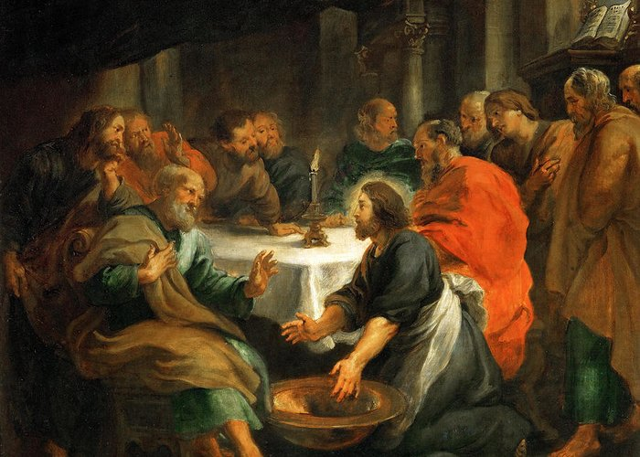 Peter Paul Rubens Greeting Card featuring the painting Christ Washing The Apostles' Feet by Peter Paul Rubens