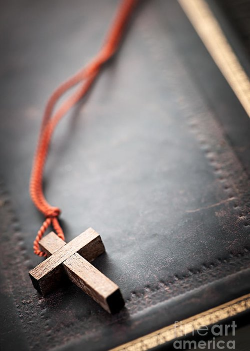 Cross Greeting Card featuring the photograph Christian Cross On Bible by Elena Elisseeva