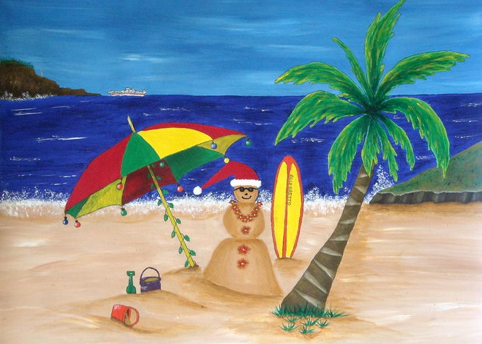 Pamela Allegretto Franz Greeting Card featuring the painting Christmas In Kona by Pamela Allegretto