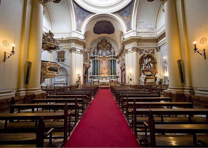 Madrid Greeting Card featuring the photograph Church Of Santa Barbara Interior In Madrid by Artur Bogacki