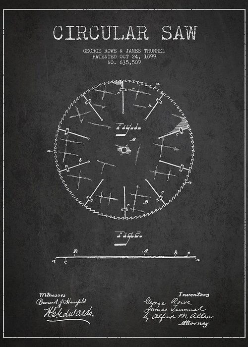 Saw Greeting Card featuring the digital art Circular Saw Patent Drawing From 1899 by Aged Pixel