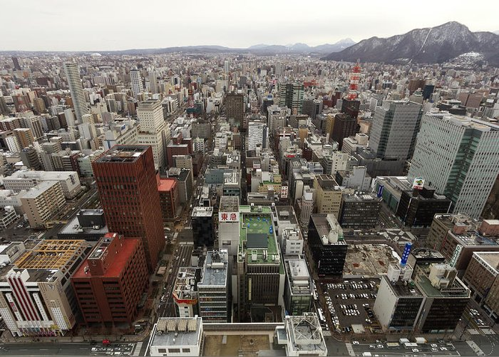 Hokkaido Greeting Card featuring the photograph Cityscape Of Sapporo, Hokkaido, Japan by Tetsuya Aoki