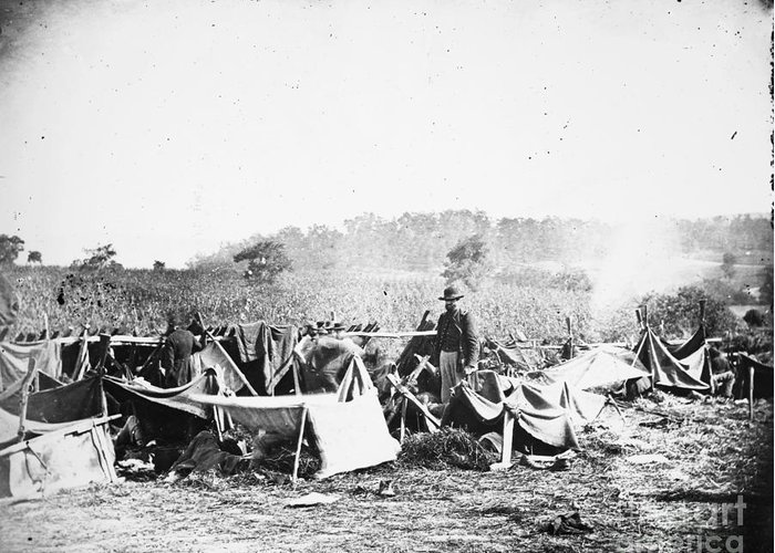 1862 Greeting Card featuring the photograph Civil War: Wounded, 1862 by Granger