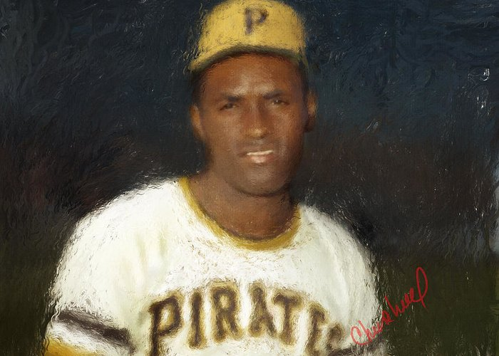 Roberto Clemente Greeting Card featuring the digital art Clemente by Thomas Churchwell