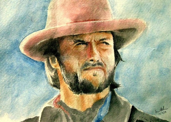 Clint Eastwood Greeting Card featuring the painting Clint Eastwood by Nitesh Kumar