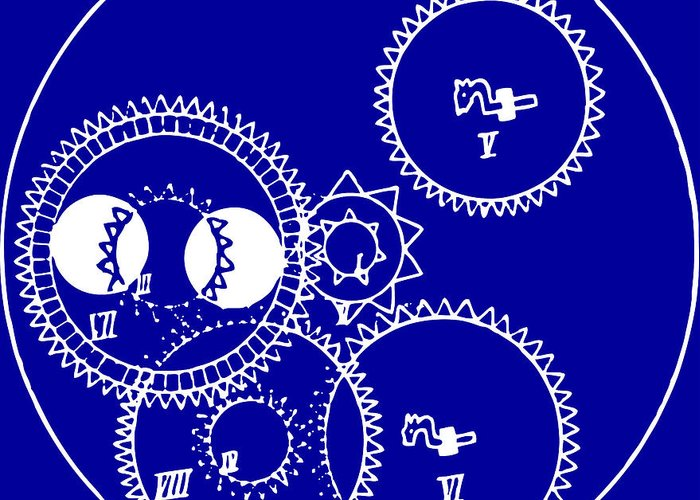 Clock Gears Blueprint Greeting Card featuring the drawing Clock Gears Blueprint by