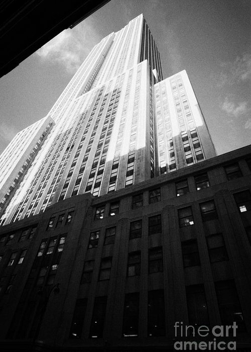Usa Greeting Card featuring the photograph Close In Shot Of The Empire State Building New York City by Joe Fox