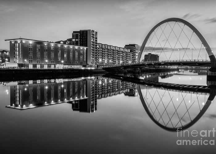 Glasgow Scene Greeting Card featuring the photograph Clyde Arc Squinty Bridge by John Farnan