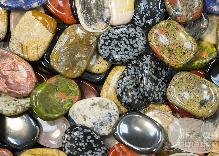 Gems Greeting Card featuring the photograph Colored Polished Rocks by Steven Ralser