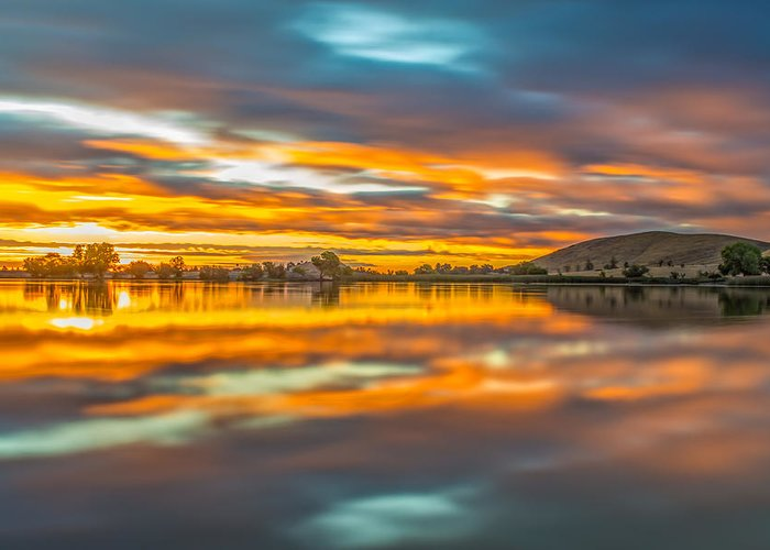 Landscape Greeting Card featuring the photograph Colorful Clouds At Sunrise by Marc Crumpler