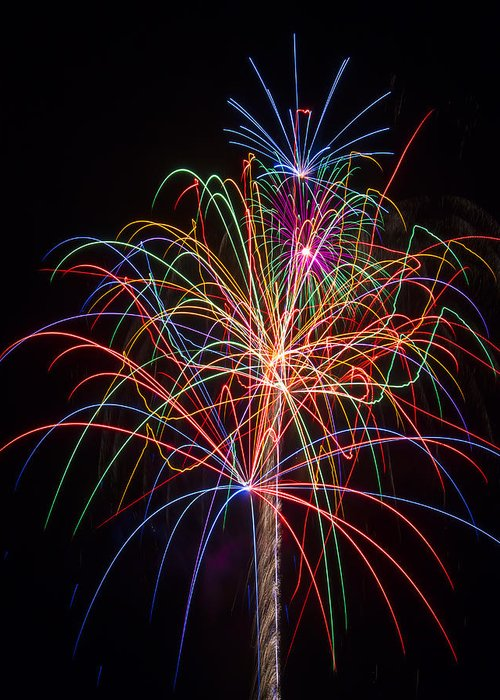 Fireworks Lights Up The Darkness Greeting Card featuring the photograph Colorful Fireworks by Garry Gay