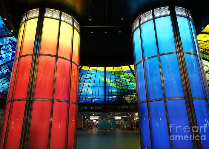 Kaohsiung Greeting Card featuring the photograph Colorful Glass Work Ceiling And Columns by Yali Shi