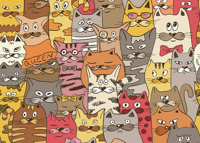 Pets Greeting Card featuring the digital art Colorful Seamless Pattern With Funny by Annykos