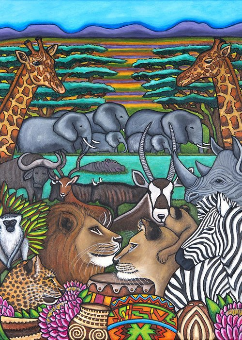 Africa Greeting Card featuring the painting Colours of Africa by Lisa Lorenz
