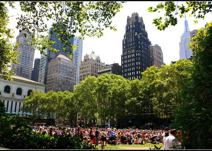 Concert At Bryant Park - Landscapes - New York - Music Concerts - Urban Images Greeting Card featuring the photograph Concert At Bryant Park by Dora Sofia Caputo Photographic Art and Design