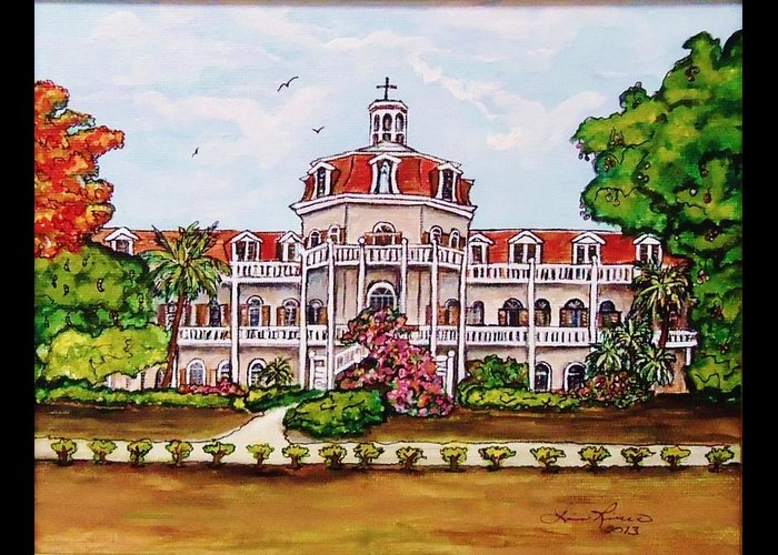 Historic Buildings Greeting Card featuring the painting Convent Of Mary Immaculate by Lois  Rivera