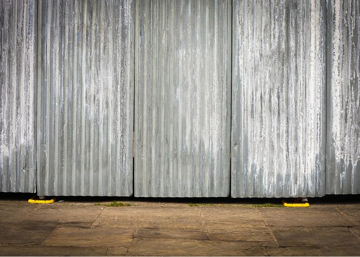 Background Greeting Card featuring the photograph Corrugated Metal by Tom Gowanlock