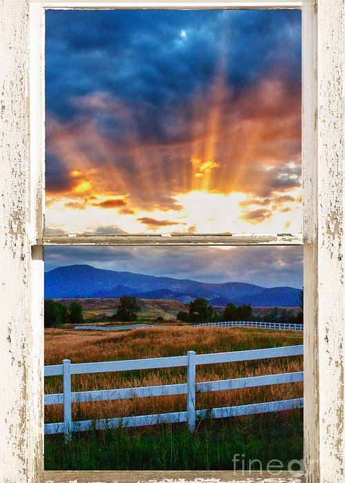 Sunlight Greeting Card featuring the photograph Country Beams Of Light Barn Picture Window Portrait View by James BO Insogna