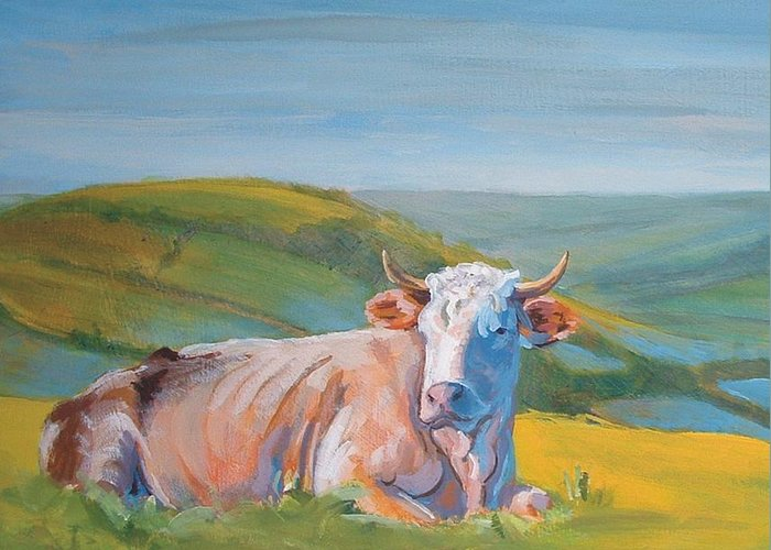 Cow Greeting Card featuring the painting Cow Lying Down by Mike Jory