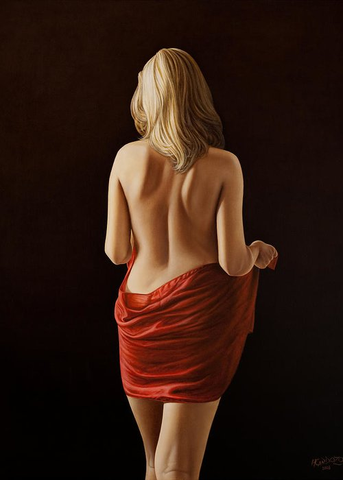 Woman Greeting Card featuring the painting Crimson by Horacio Cardozo