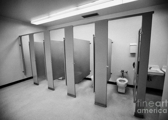 Toilet Greeting Card featuring the photograph cubicle toilet stalls in womens bathroom in a High school canada north america by Joe Fox