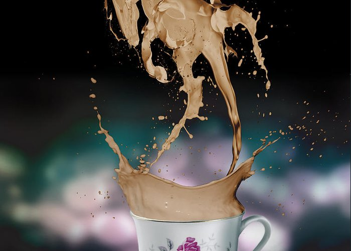Digital Greeting Card featuring the digital art Cup Of Coffee by Kate Black