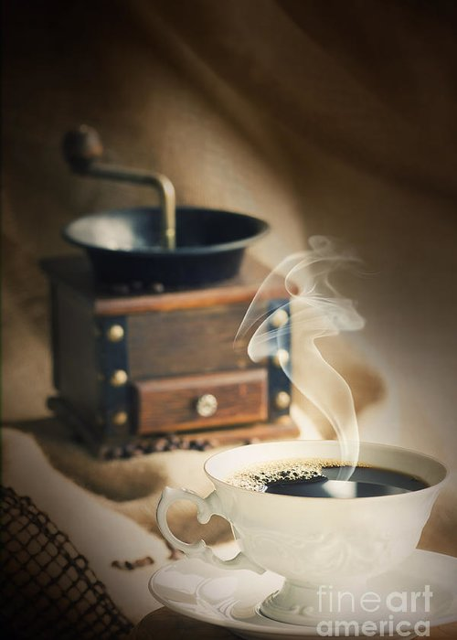 Addiction Greeting Card featuring the photograph Cup Of Coffee by Mythja Photography