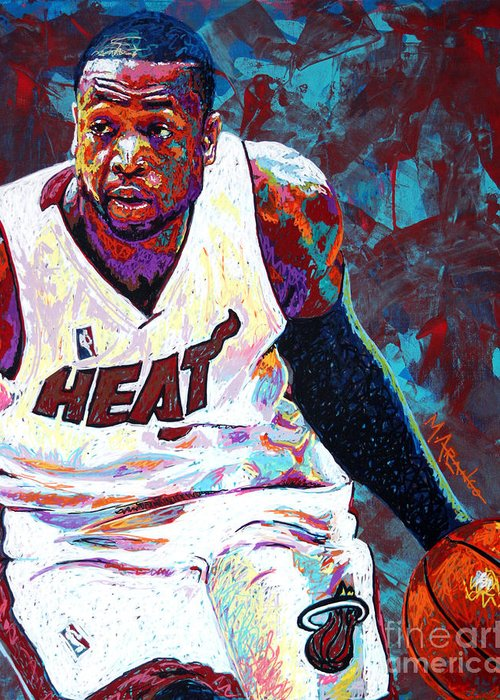 Dwyane Wade Greeting Card featuring the painting D. Wade by Maria Arango