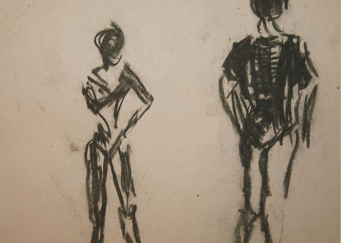 Dance Greeting Card featuring the drawing Dancing by Elena Svobodina
