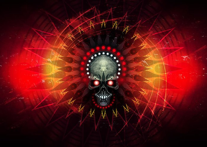 Skull Greeting Card featuring the digital art Deadstep - Hellfire Remix by George Smith