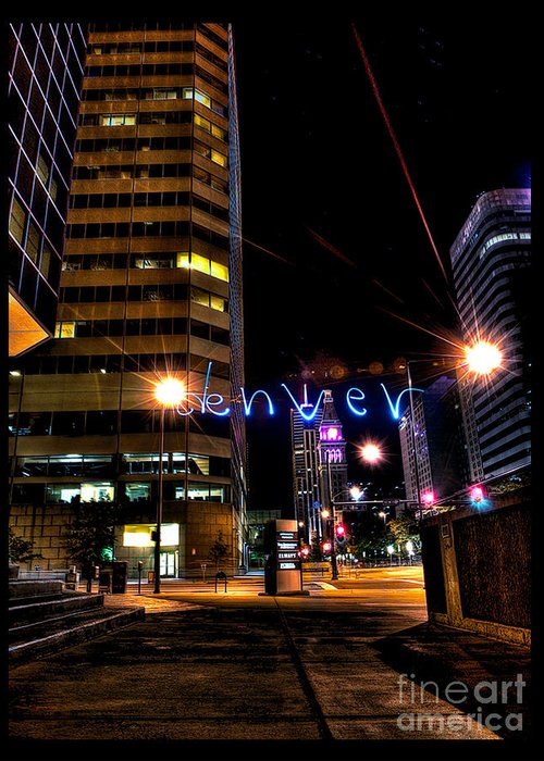 Light Painting Photography Greeting Card featuring the photograph Denver Colorado by Chris Look