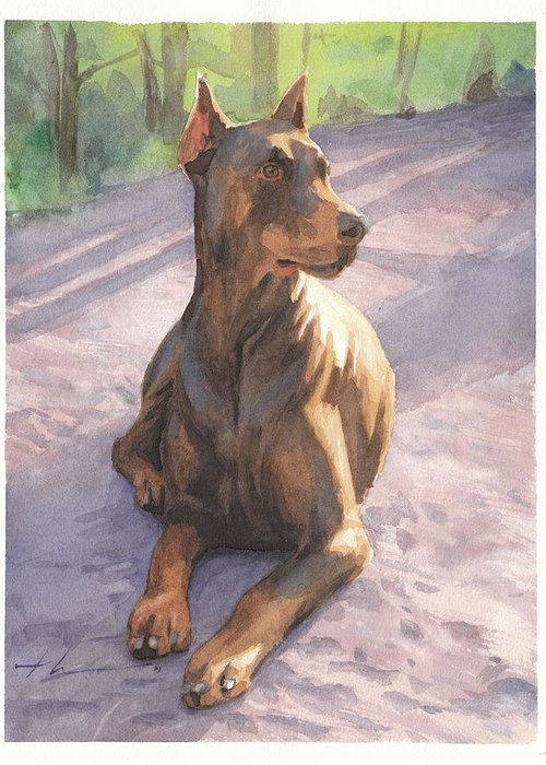 <a Href=http://miketheuer.com Target =_blank>www.miketheuer.com</a> Greeting Card featuring the drawing Doberman Puppy Pencil Portrait by Mike Theuer