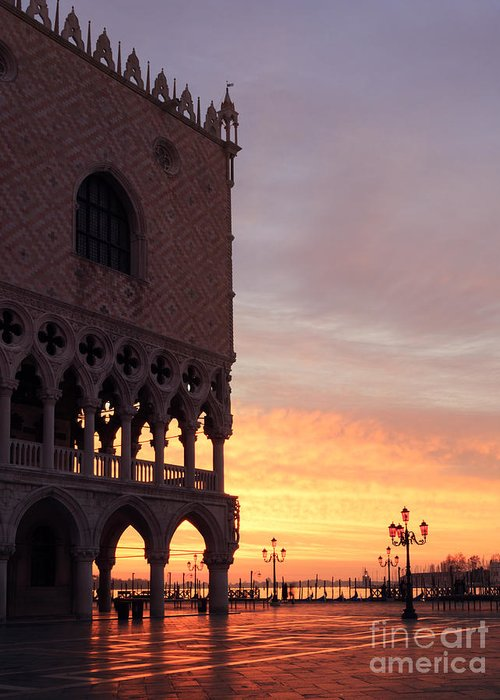 Art Greeting Card featuring the photograph Doges Palace At Sunrise Venice Italy by Matteo Colombo