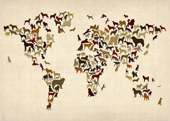 World Map Greeting Card featuring the digital art Dogs Map Of The World Map by Michael Tompsett