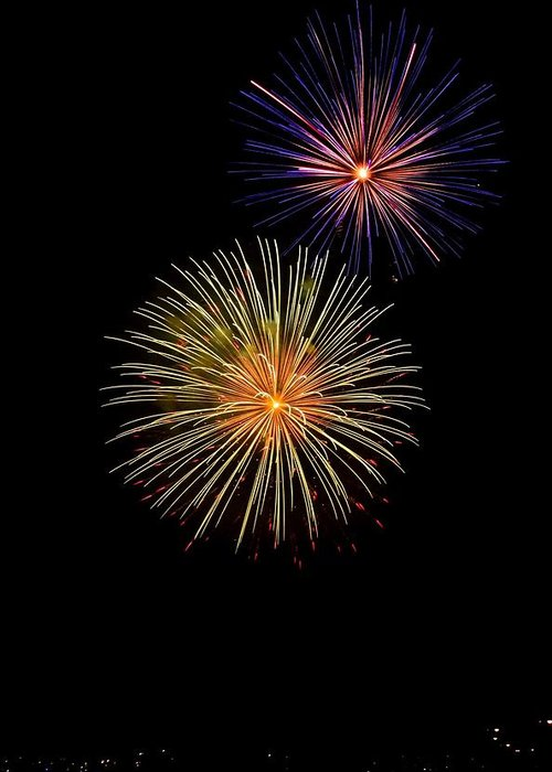 Fireworks Greeting Card featuring the photograph Double Firework by Alan Robinson
