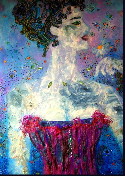 Mixed Media Collage Greeting Card featuring the mixed media Dreaming by Diane Fine