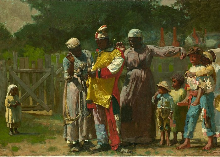 Winslow Homer Greeting Card featuring the painting Dressing For The Carnival by Winslow Homer