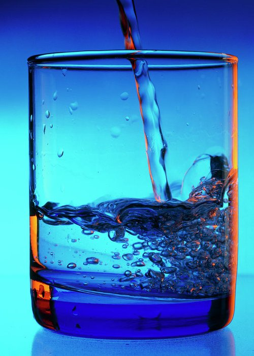 Water Greeting Card featuring the photograph Drinking Water Pouring Into A Glass by Adrienne Hart-davis/science Photo Library