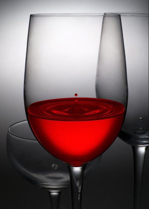 Abstract Greeting Card featuring the photograph Drops Of Wine In Wine Glasses by Setsiri Silapasuwanchai