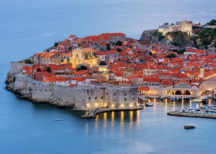 Scenics Greeting Card featuring the photograph Dubrovnik City Skyline At Dawn by Pixelchrome Inc