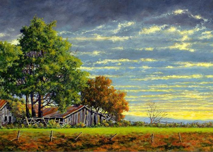 Landscape Greeting Card featuring the painting Dusk by Jim Gola