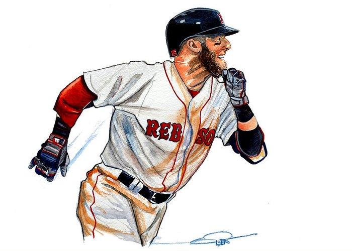 Dustin Pedroia Greeting Card featuring the painting Dustin Pedroia by Dave Olsen
